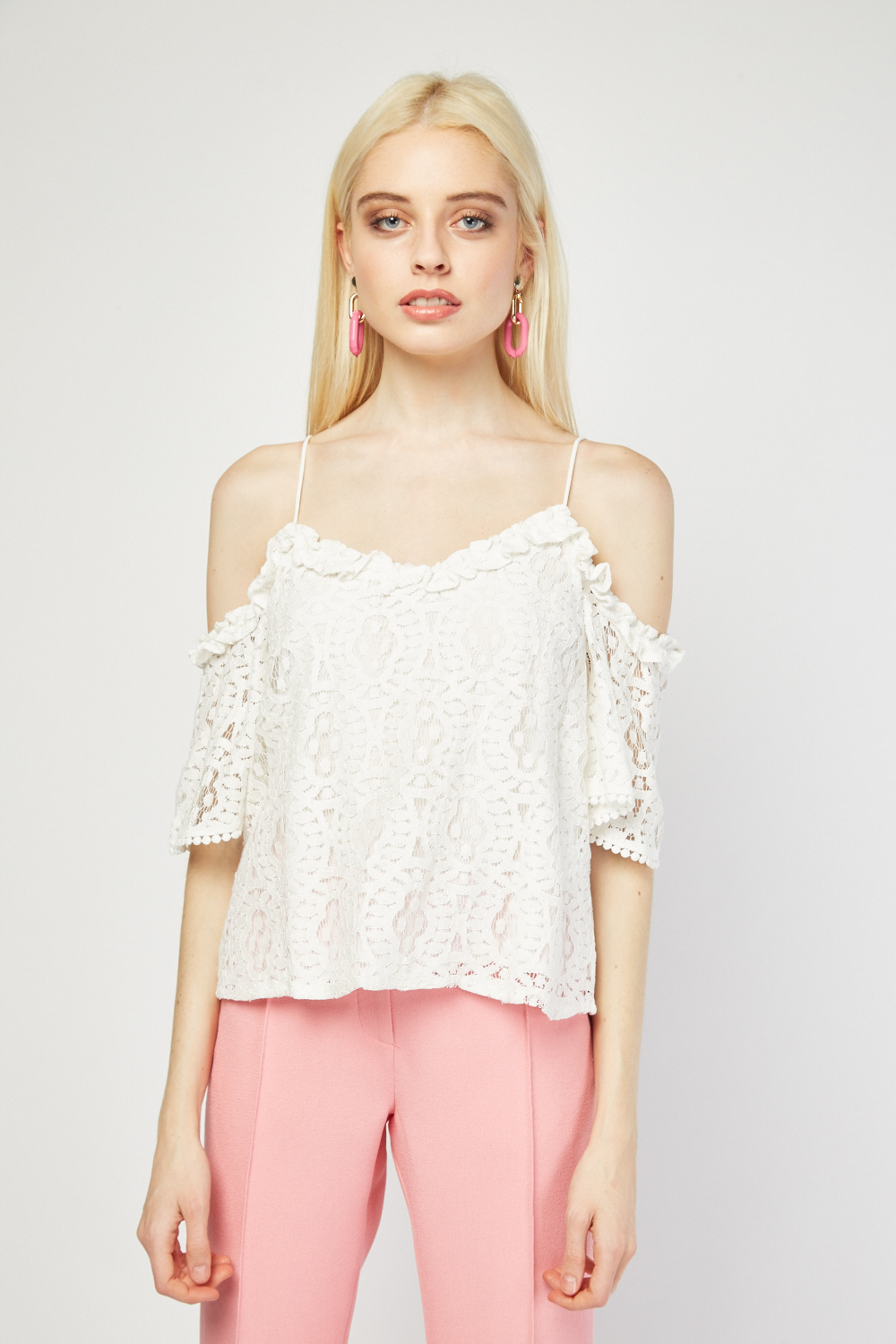 3a2c525204c01 Cold Shoulder Lace Overlay Top - Black or White - Just £5