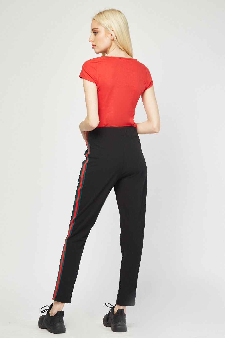 Jogger Style Striped Side Pants Red Just 163 5