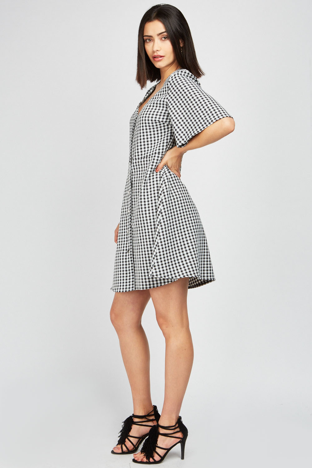 bd50878f9832 Flared Sleeve Gingham Swing Dress - Just £5