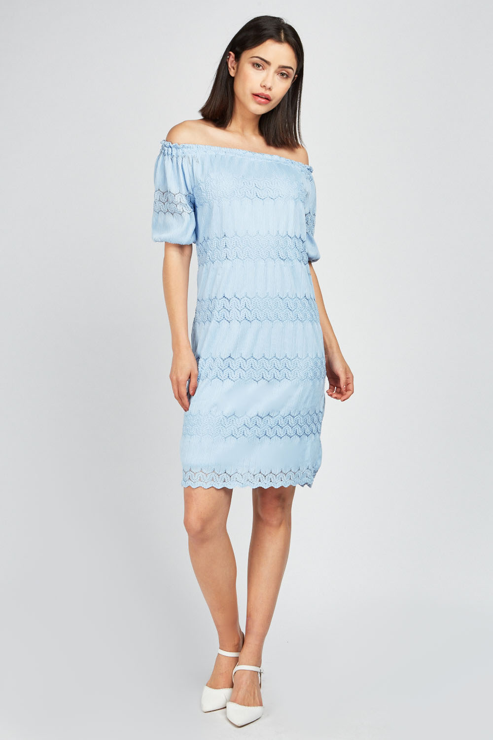 b00e75f5bb Off Shoulder Lace Contrast Dress - Blue or White - Just £5