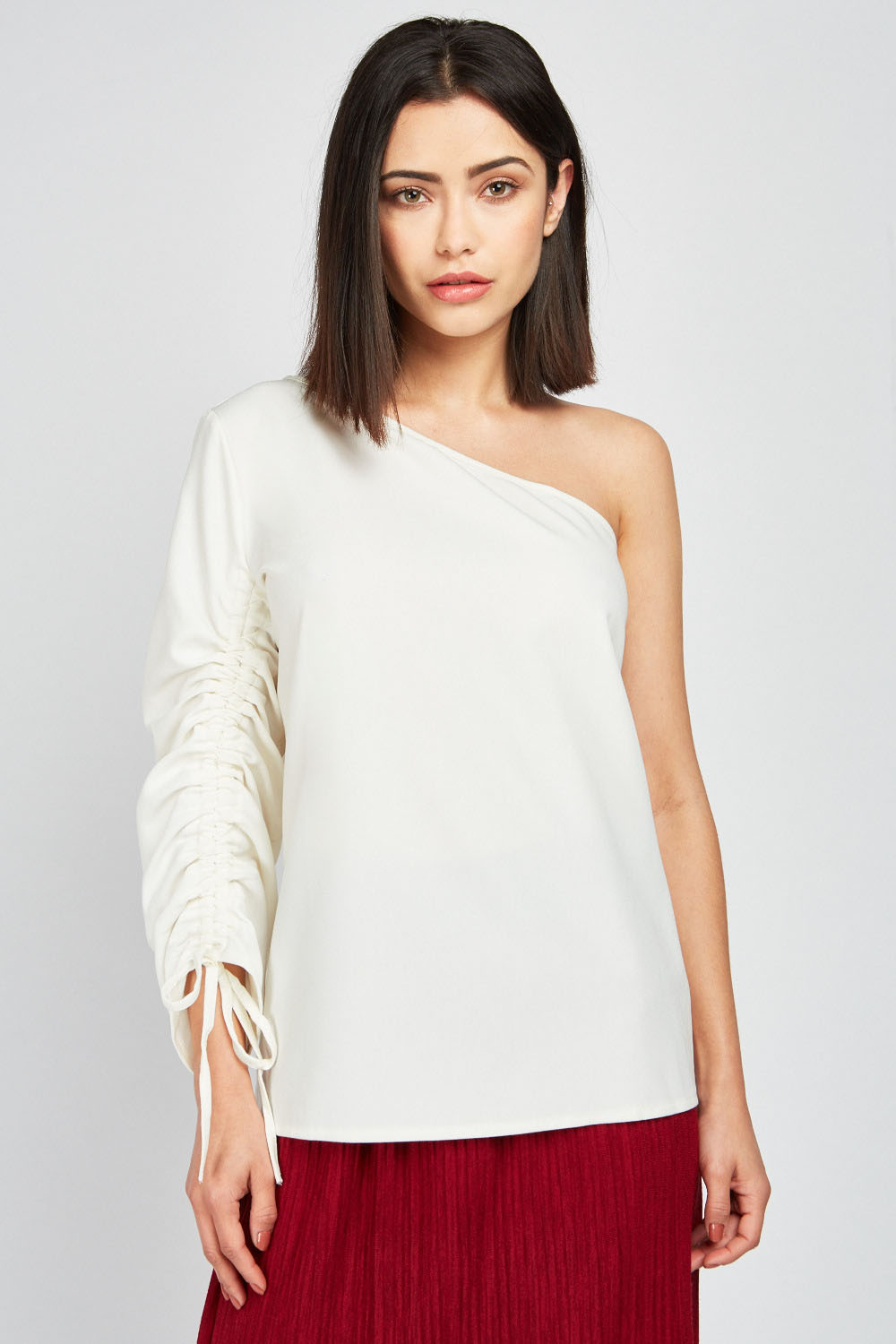05b3fb99b73 Tie Up Gathered One Shoulder Top - Cream or Black - Just £5