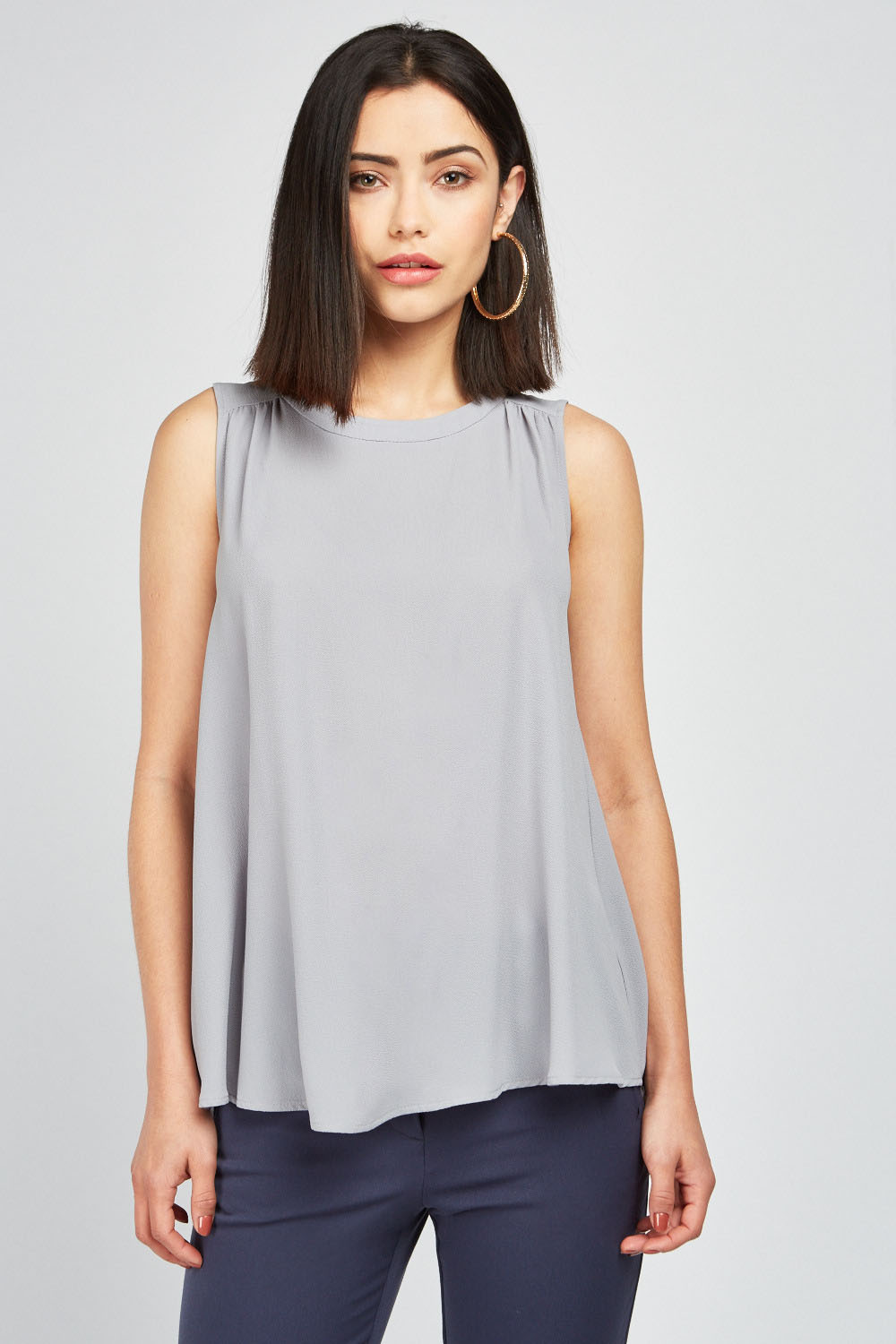 32fa890cd8263 Wrap Back Sleeveless Top - Grey - Just £5