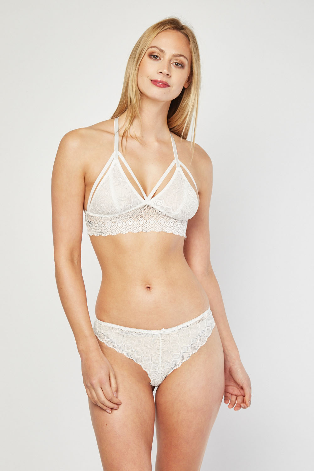 2bca0ca314687 Lace Bralette And Brazilian Brief Set - 3 Colours - Just £5