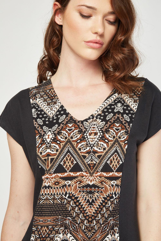 378dbe6134c Tribal Print Panel Maxi Dress - Black Multi - Just £5