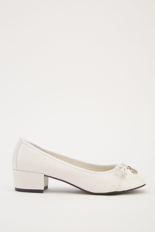 d879b3126fc Block Heel Pumps - White - Just £5