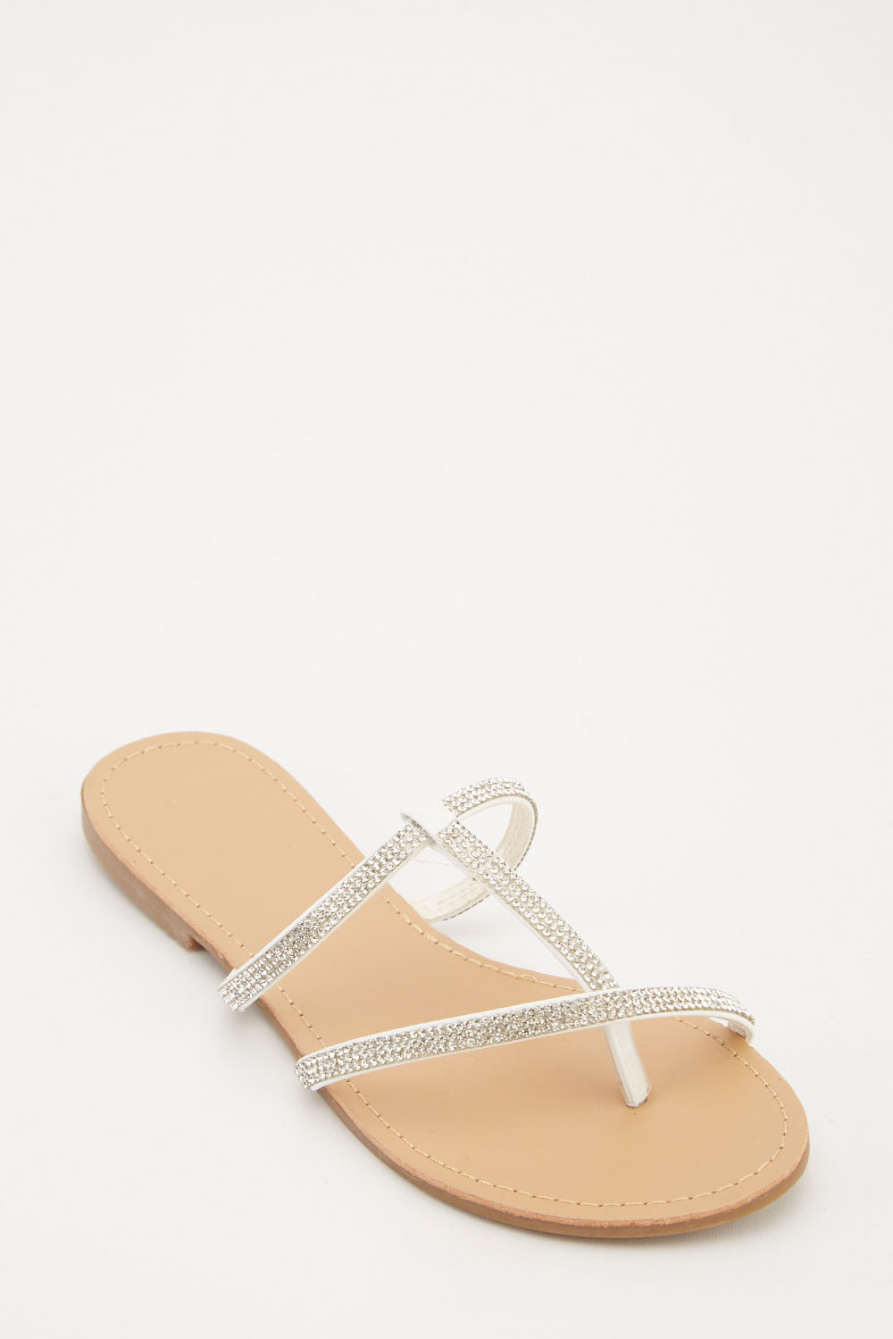 86455e9f1 Encrusted Strappy Flat Sandals - 4 Colours - Just £5