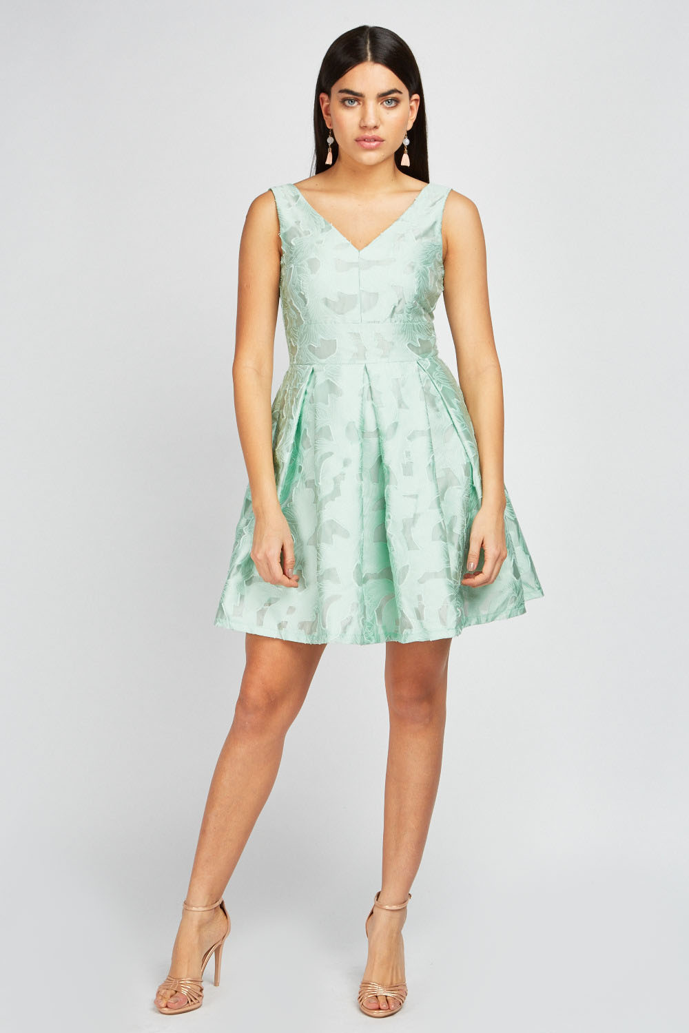 6505022d3b59 Cut Out Pattern Skater Dress. £5.00. ColourLight Green