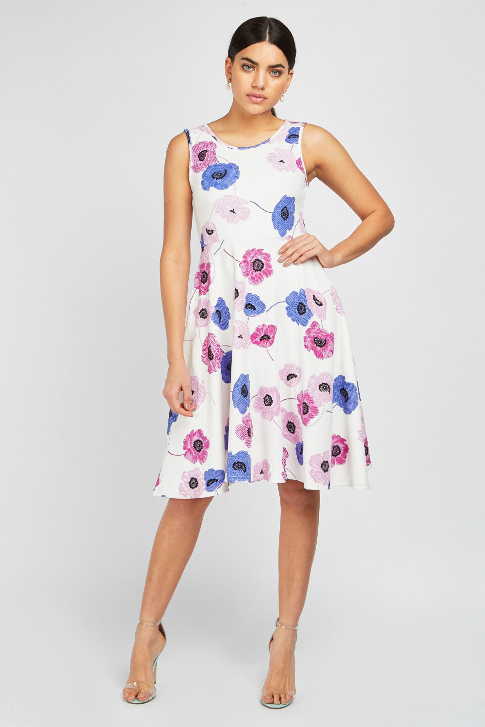 0a0efd410dd4 Printed Midi Swing Dress - Off White Multi - Just £5