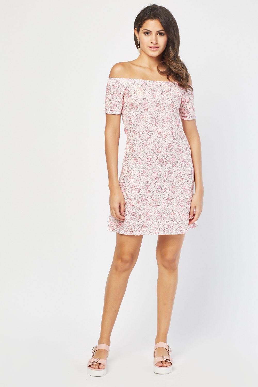b67378fb1d46 Shimmery Printed Off Shoulder Dress - Pink - Just £5
