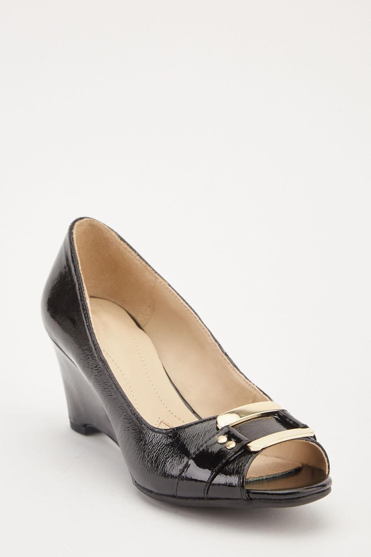 6b1e12ccd23 PVC Open Toe Wedge Heels - Black - Just £5