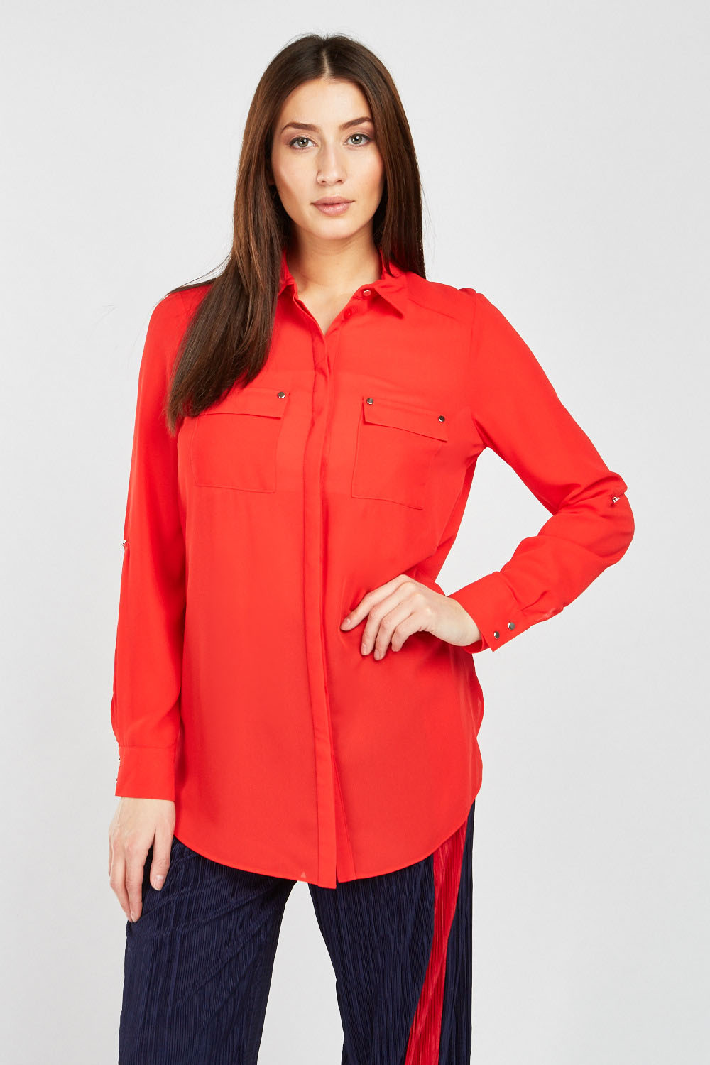 679faf71686d8 Twin Pocket Front Chiffon Blouse - Red - Just £5