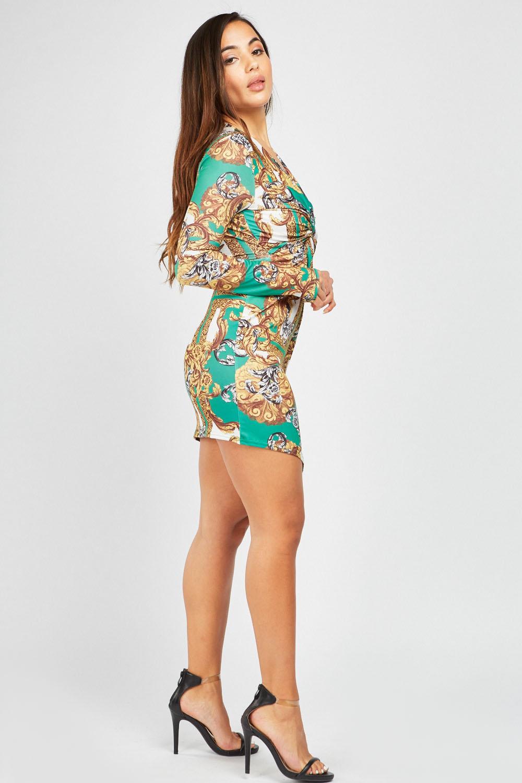 c83fba437f Twisted Baroque Printed Dress - Green Multi or Black Multi - Just £5