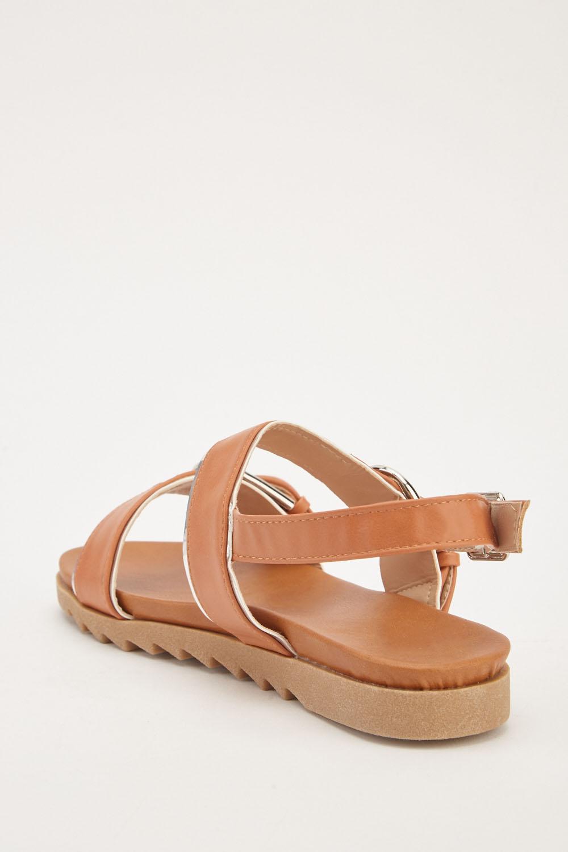 Buckle Strap Flat Sandals Black Just 163 5