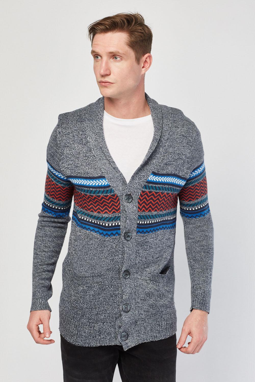 8e0187ca3563 Button Up Aztec Pattern Cardigan - Grey Multi - Just £8