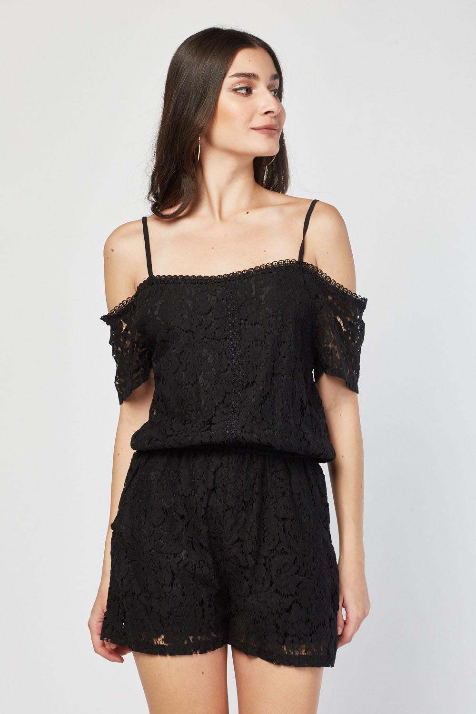 e95cb65f209 Cold Shoulder Lace Playsuit - Just £5