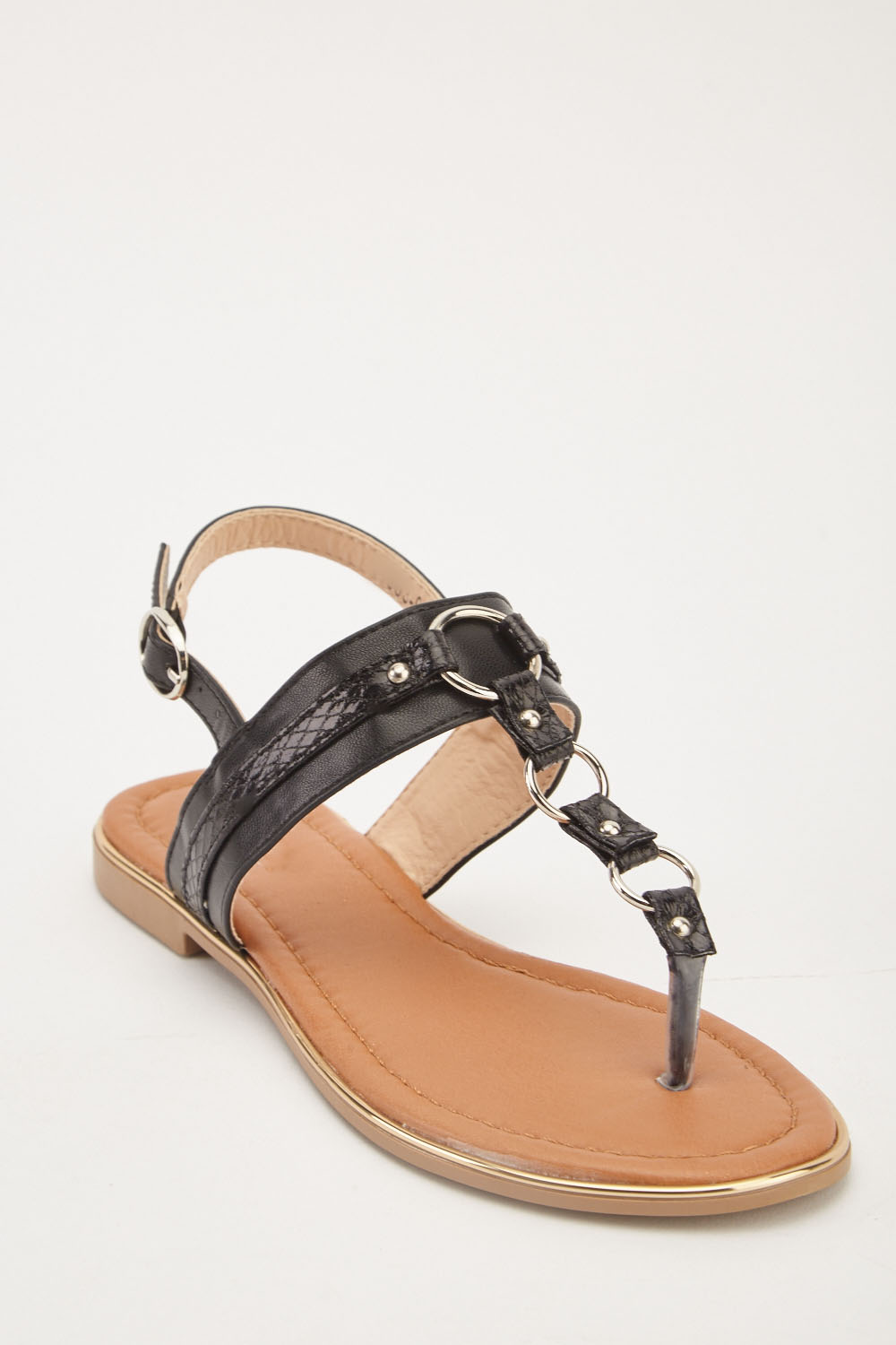 665ccc2d069 Ankle Strap Flat Sandals - Black - Just £5
