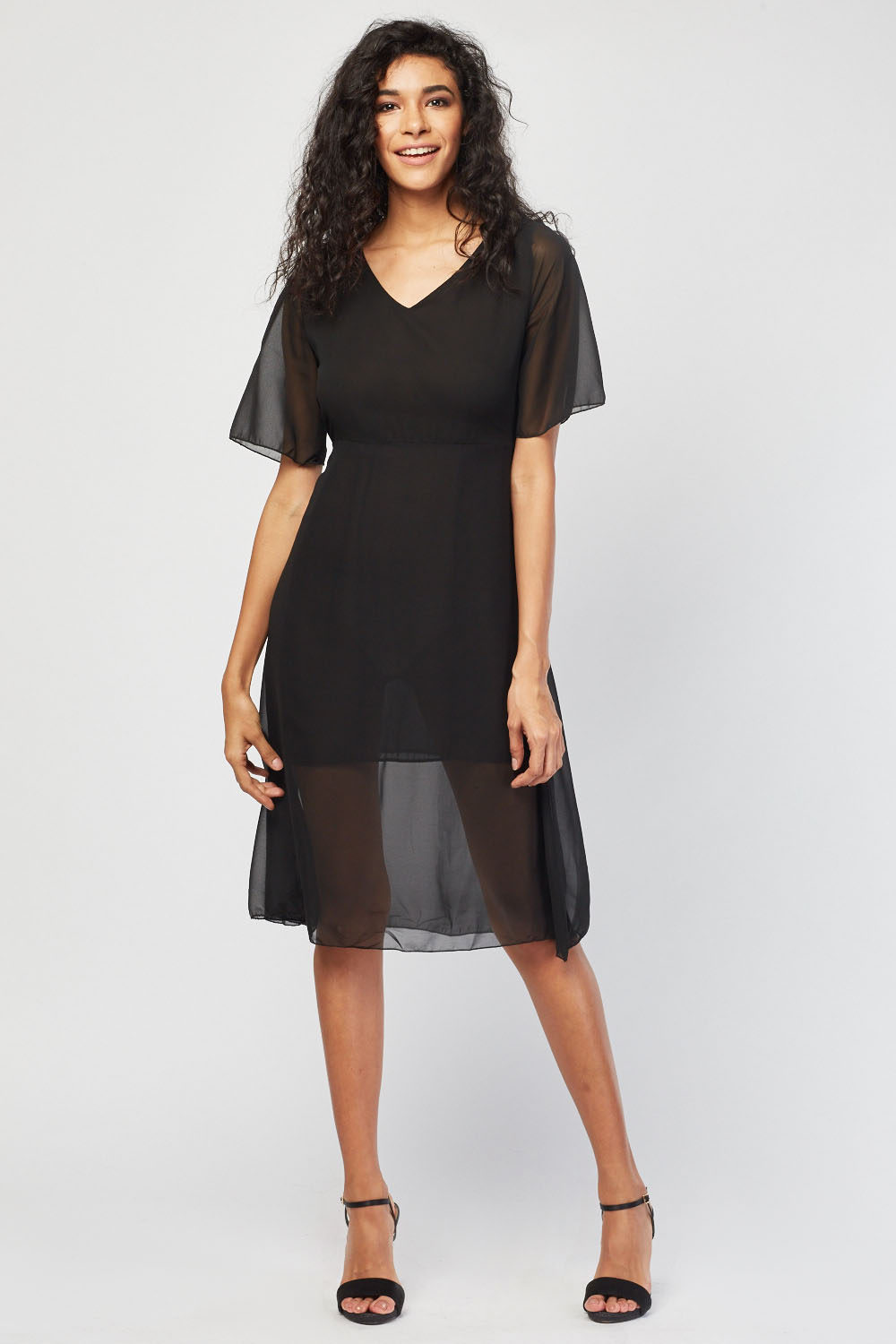 ec84e44cb0 Tie Up Sheer Chiffon Dress - Black - Just £5
