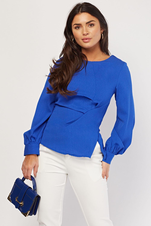 Bishop Sleeve Draped Royal Blue Blouse Just 163 5