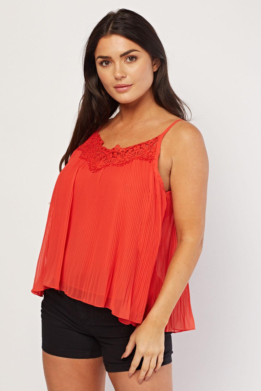 933a83921de2 Lace Trim Plisse Cami Top - 4 Colours - Just £5