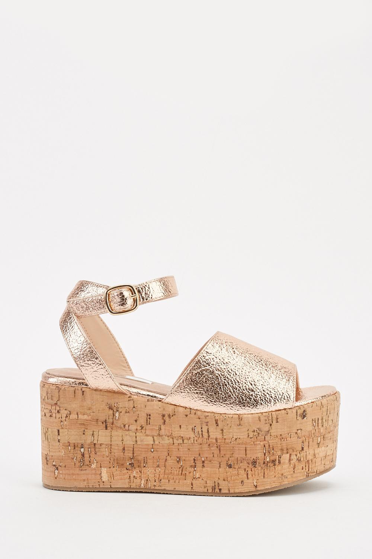 f7f61ab4b Cork Platform Heel Sandals - Rose Gold - Just £5