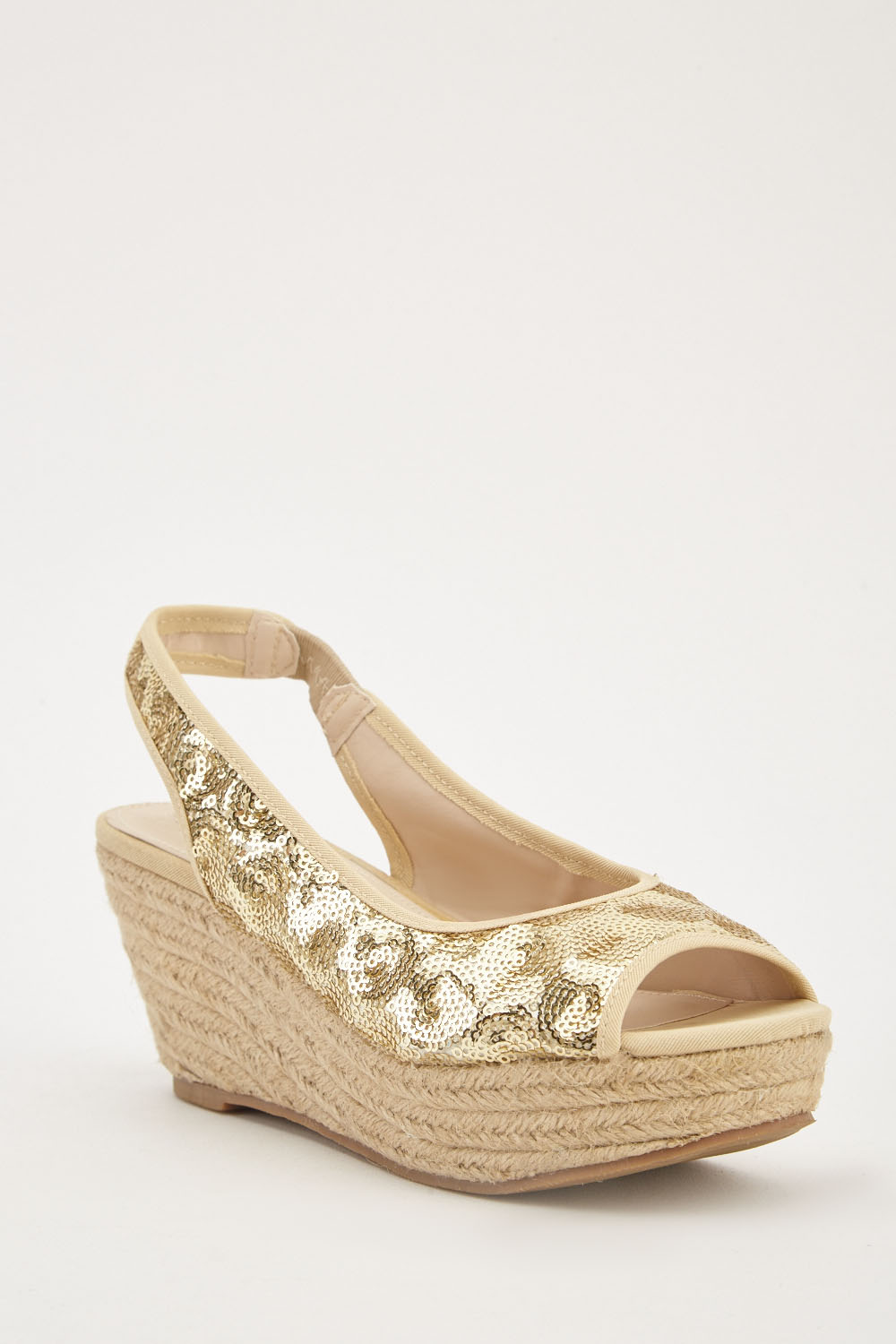 e9879fba821f Sequin Encrusted Open Toe Sandals - Gold - Just £5