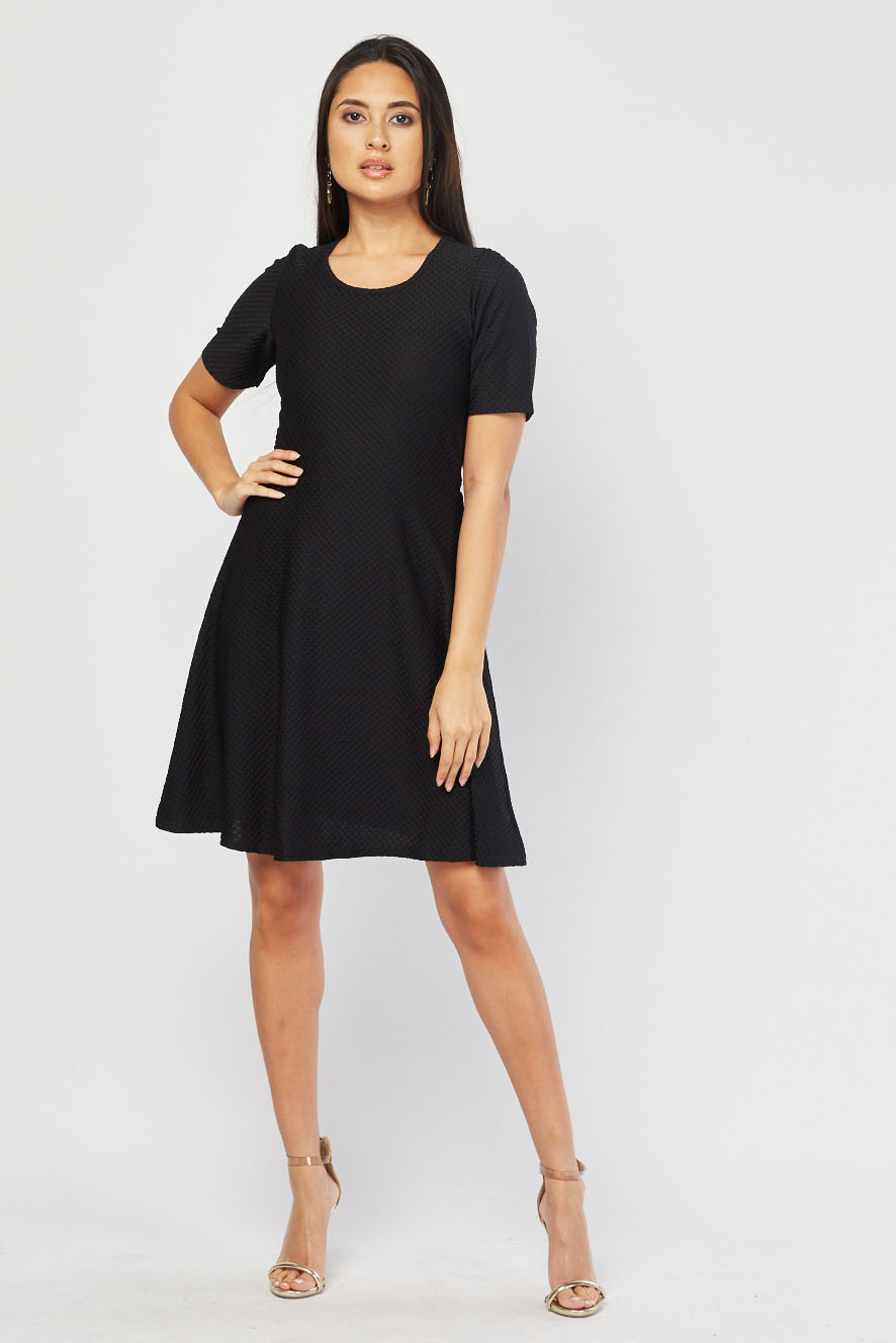 197a6154289c2 Short Sleeve Textured Swing Dress - Just £5