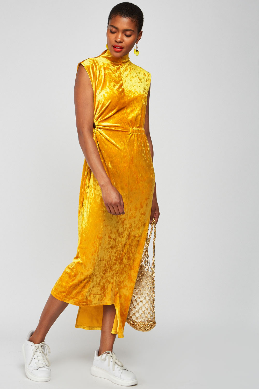 84531cf0d06d Tie Up Keyhole Side Velveteen Dress - Mustard - Just £5