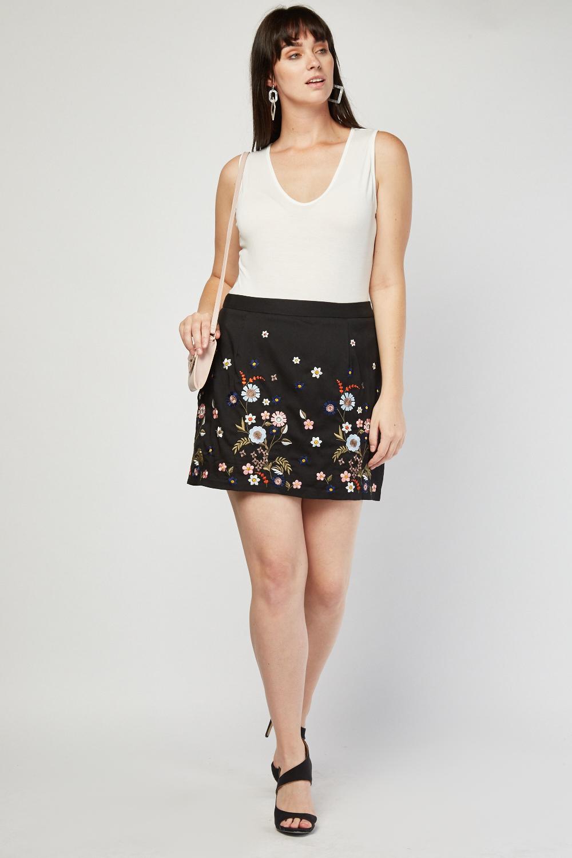 e333779a7 Embroidered Flower Mini Skirt. £5.00. ColourBlack/Multi