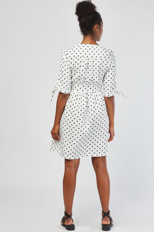 Tie Up Sleeve Polka Dot Print Dress White Just 163 5