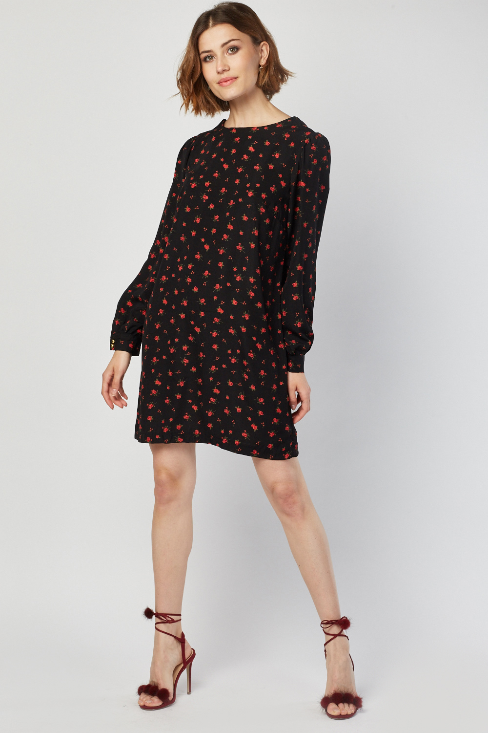 Long Sleeve Printed Shift Dress Black Multi Just 163 5