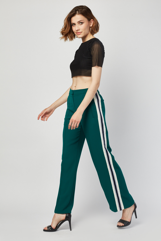 Stripe Side Wide Leg Green Trousers Just 163 5
