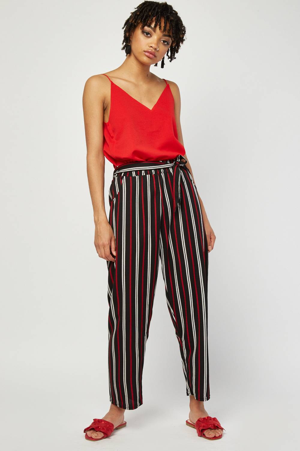 Tie Up Stripe Tapered Trousers Just 163 5