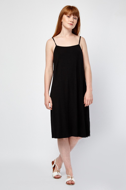 48a8514670d4 Plain Flared Cami Dress - Black - Just £5