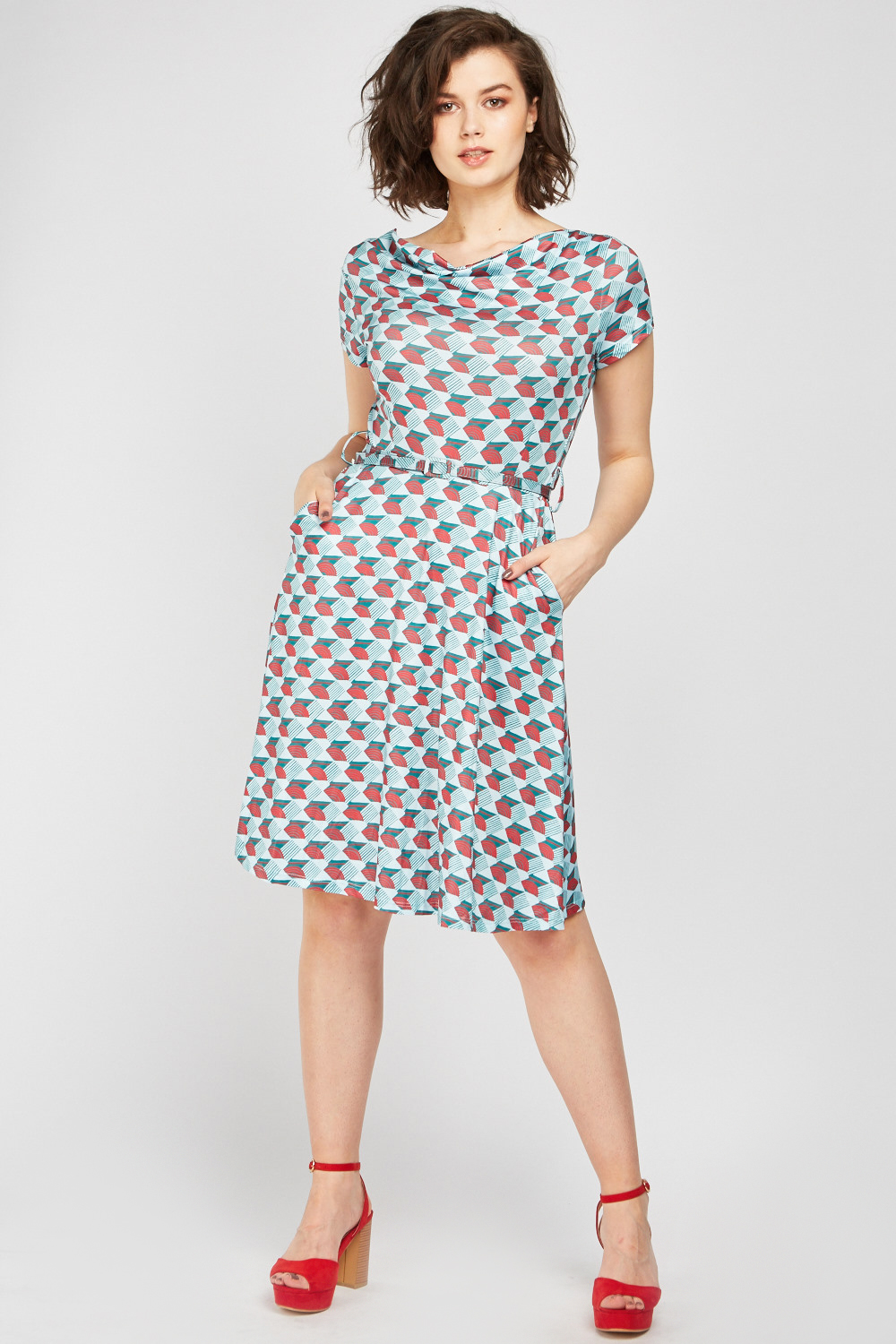 11e017e2ff331 Cowl Neck Print Swing Dress - Just £5