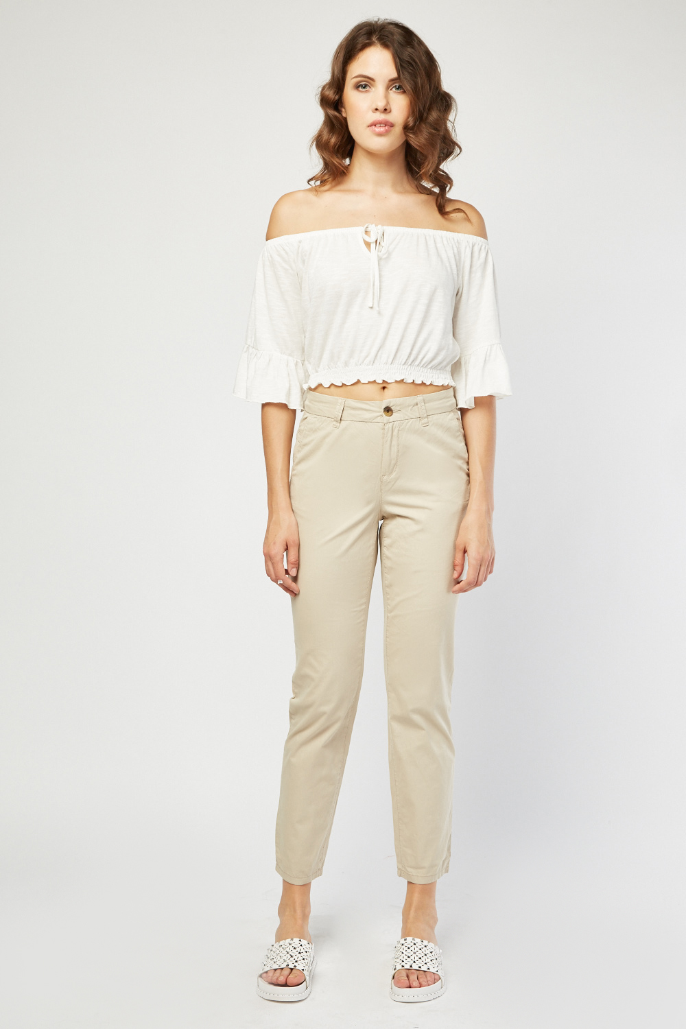 Straight Cut Casual Chino Trousers
