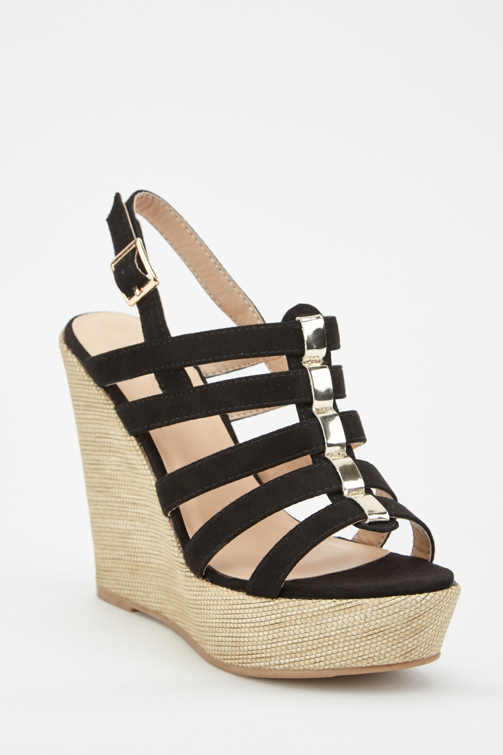 Suedette Cut Out Wedge Sandals Just £5