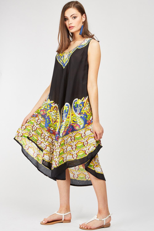 Paisley Print Midi Tent Dress 4 Colours Just 163 5