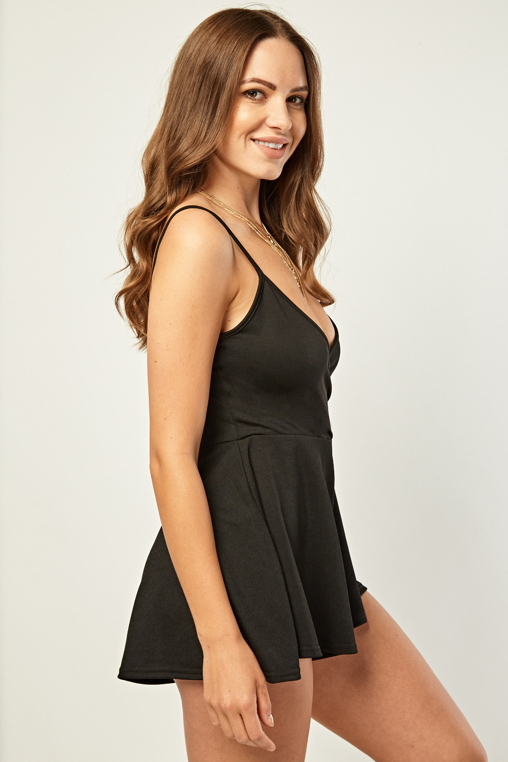 Frilly Slip Wrap Playsuit Black Just 163 5