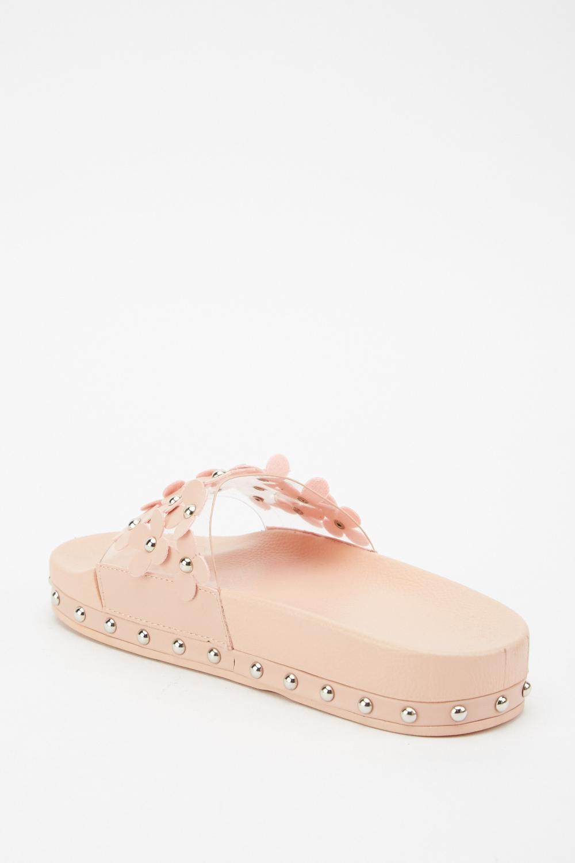 3d Flower Embellished Sandals Pink Or White Just 163 5