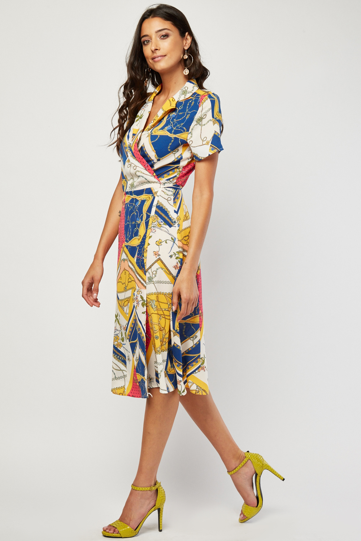 8f0f478f5ec08 Vintage Scarf Print Wrap Dress - Just £5