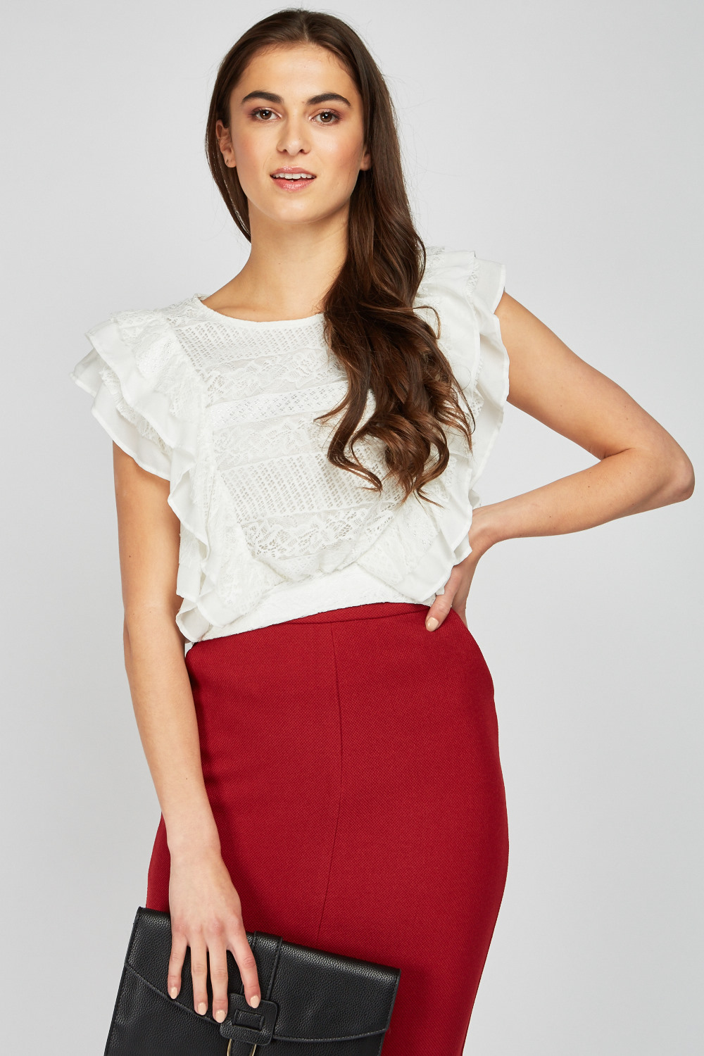 Ruffle Lace Crop Top 4 Colours Just 163 5