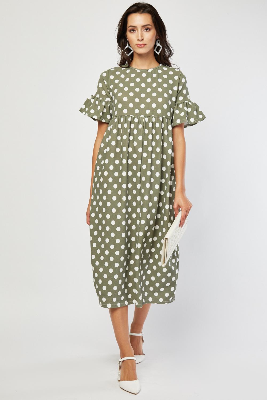 Polka Dot Midi Smock Dress Light Olive Just 163 5