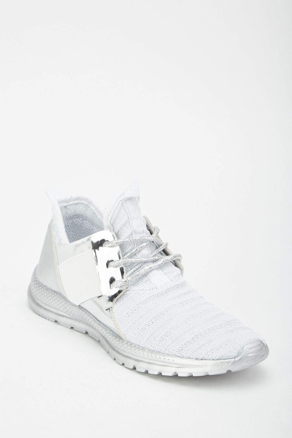 b63d62d8eda7d Metallic Lace Up Contrast Trainers - Just £5