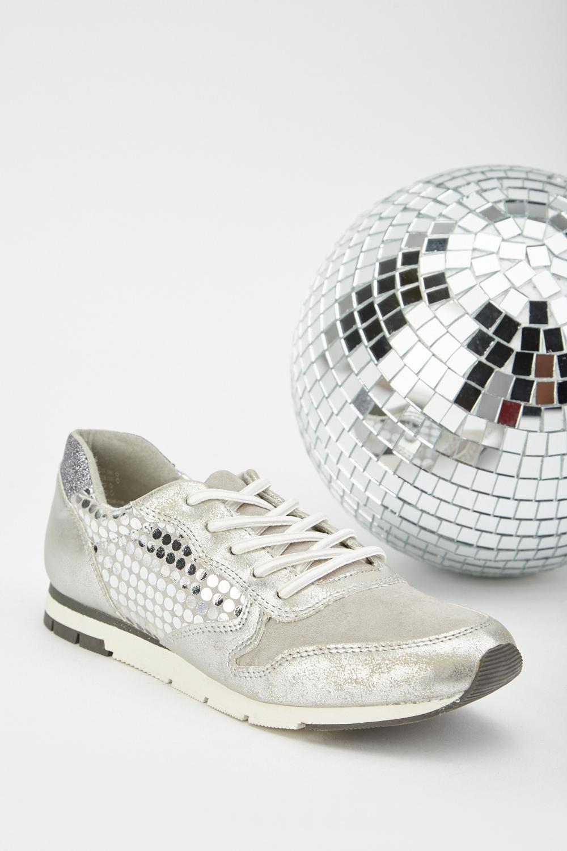 8d9e527b177a3 Metallic Polka Dot Contrast Trainers - Just £5