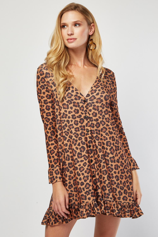 27d88d63e449 Ruffle Hem Mini Leopard Dress. £5.00. ColourCamel/Multi
