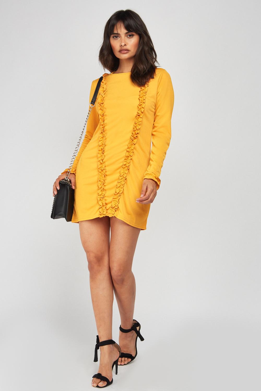 2fc43e24bb77 Ruffle Trim Mini Dress - Mustard or Black - Just £5