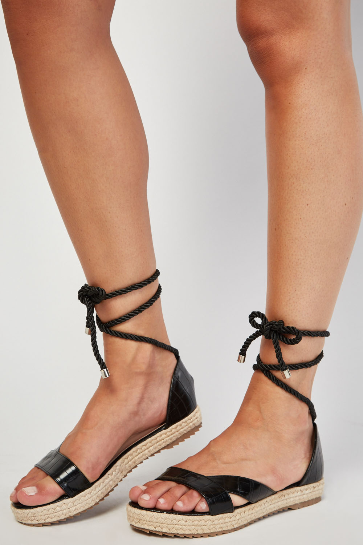 864c0709899da LOST INK Black Fran Ankle Wrap Flat Sandal - Just £5