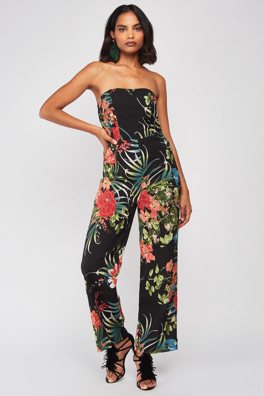 Strapless Tropical Print Jumpsuit Black Multi Just 163 5