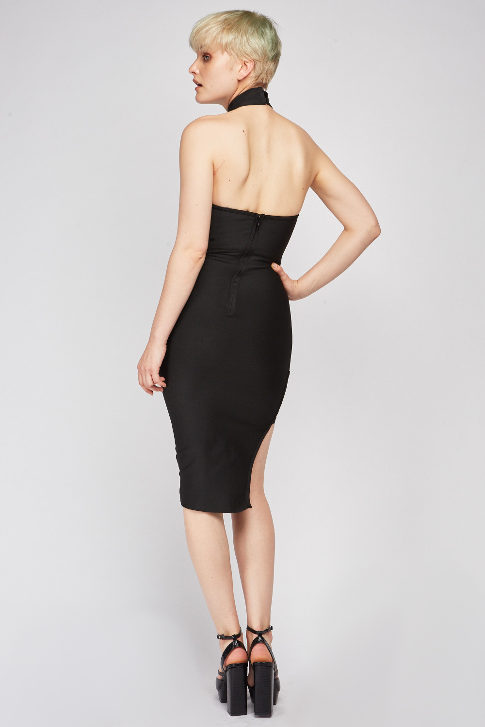 Cut Out Side Bodycon Dress Black Just 163 5