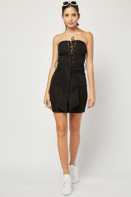 Lace Up Black Bandeau Dress Just 5